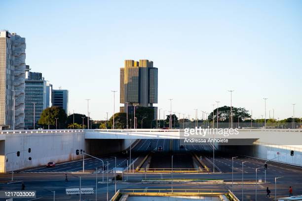 Empty avenues in downtown Brasiliaduring the coronavirus pandemic on April 1, 2020 in Brasilia, Brazil. According to the Ministry of health, Brazil...