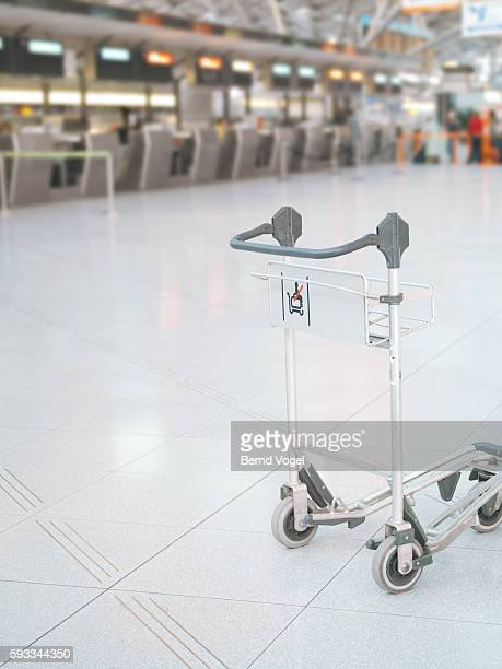 Empty baggage cart in an airport