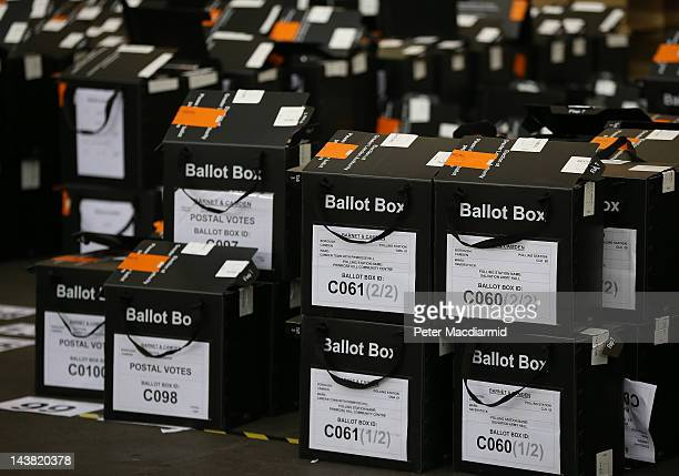Empty ballot boxes lie in a corner at the Alexandra Palace vote counting centre on May 4 2012 in London England Full results and final declarations...
