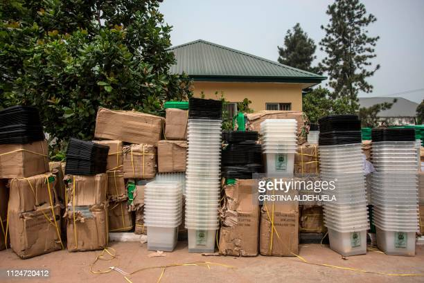 Empty ballot boxes stand ahead of the country's elections at an Independent Nigerian Electoral Commission office in Umuahia one of the proBiafran...