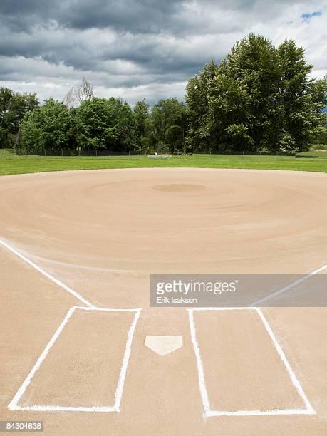 empty baseball diamond - medford oregon stock photos and pictures