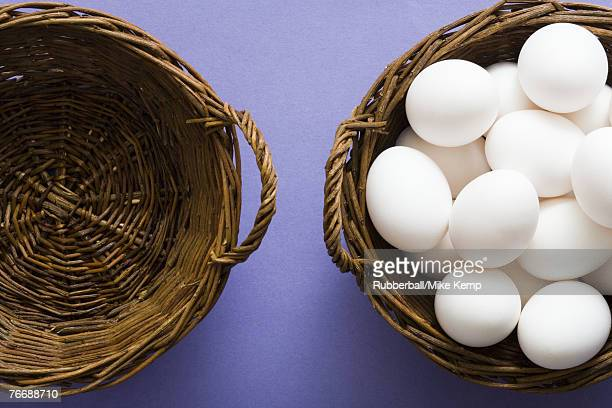 Empty basket and basket filled with eggs