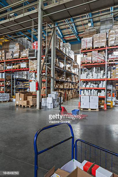 Empty basket on hand pallet truck in warehouse