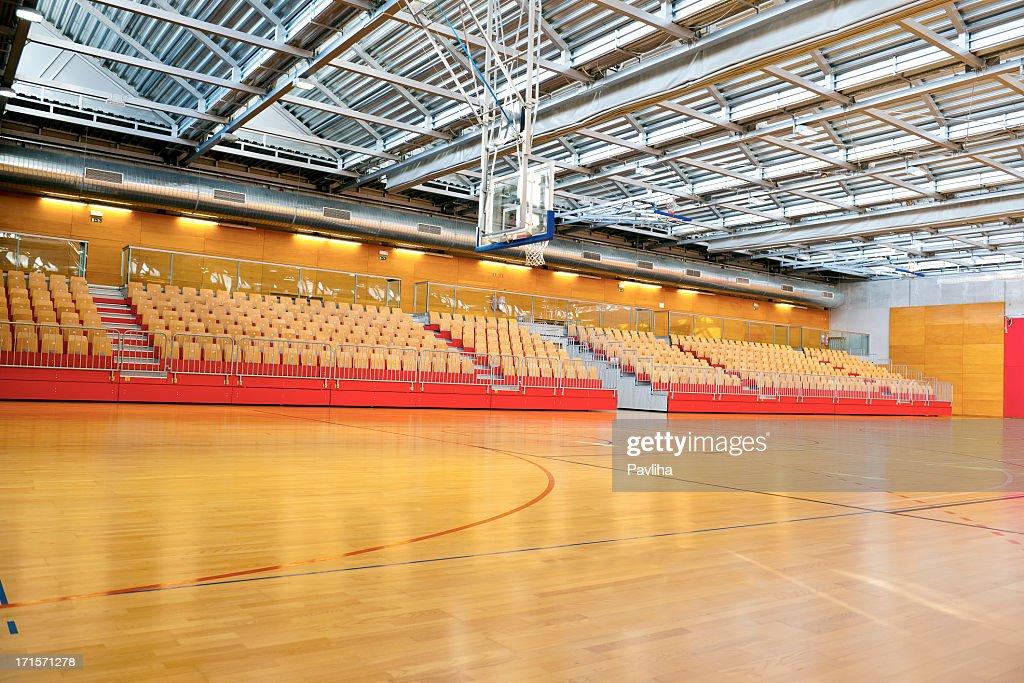 Empty Basketball School Gymnasium With Metal Roof Stock