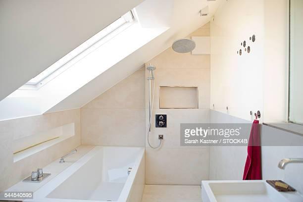 Empty bathroom with bathtub in attic
