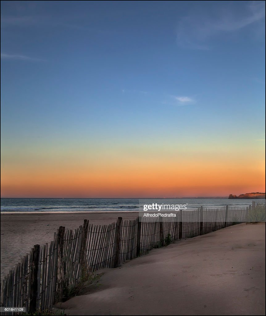 Empty beach at sunset, Hendaya, Aquitaine, France : Stock Photo