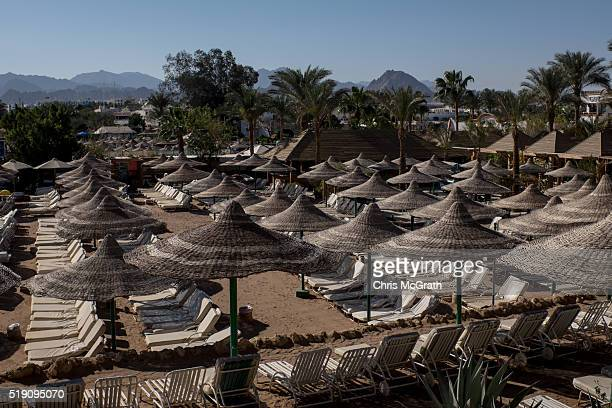 Empty beach chairs are seen at a resort on April 2 2016 in Sharm El Sheikh Egypt Prior to the Arab Spring in 2011 some 15million tourists would visit...