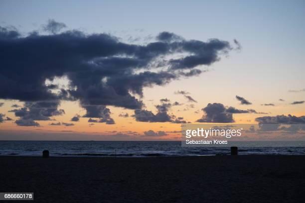 Empty Beach of Scheveningen at Dusk, the Hague, the Netherlands