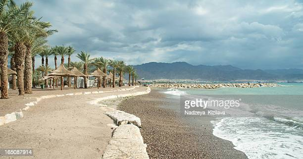 empty beach, red sea - eilat stock pictures, royalty-free photos & images