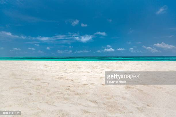 empty beach sea sand sky and summer day - sandig stock-fotos und bilder