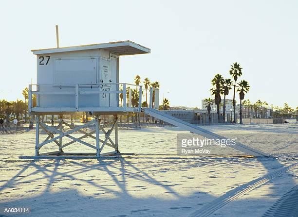 Empty Beach With Lifeguard Hut