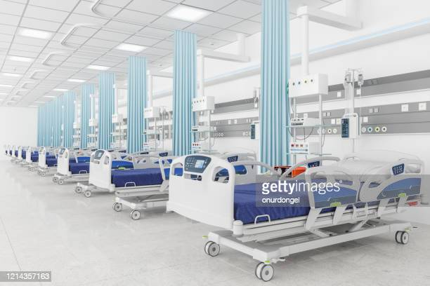 empty beds in a hospital ward - intensive care unit stock pictures, royalty-free photos & images
