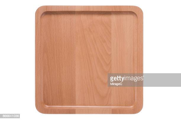Empty Beech Wood Plate Tray
