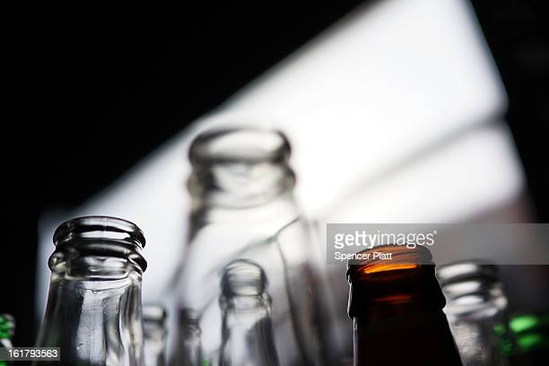 Empty beer bottles wait to be recycled at Sure We Can a nonprofit bottle redemption center in Bushwick Brooklyn that is pushing to become a...