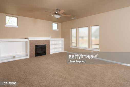 . Empty Beige With Carpet Living Room Stock Photo   Getty Images