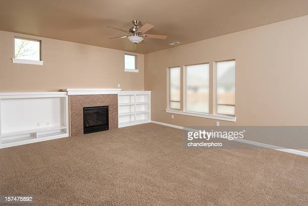 Empty beige with carpet living room