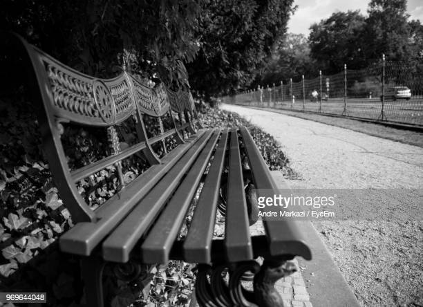Empty Bench Against Trees At Park