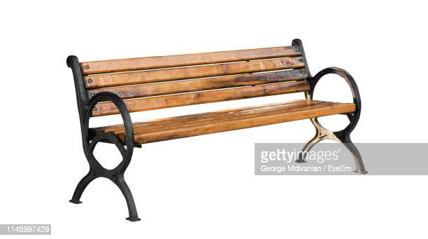 empty bench against white background - bench stock pictures, royalty-free photos & images