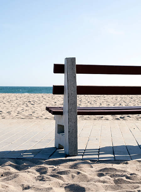 empty bench at the ocean