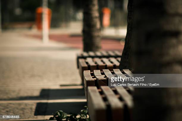 empty bench by footpath - filho stock pictures, royalty-free photos & images