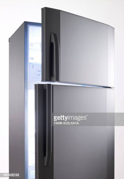 empty big fridge with blue lights