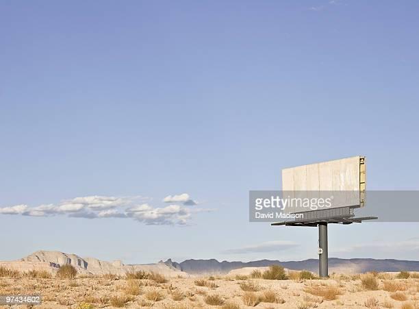 Empty billboard in the desert.