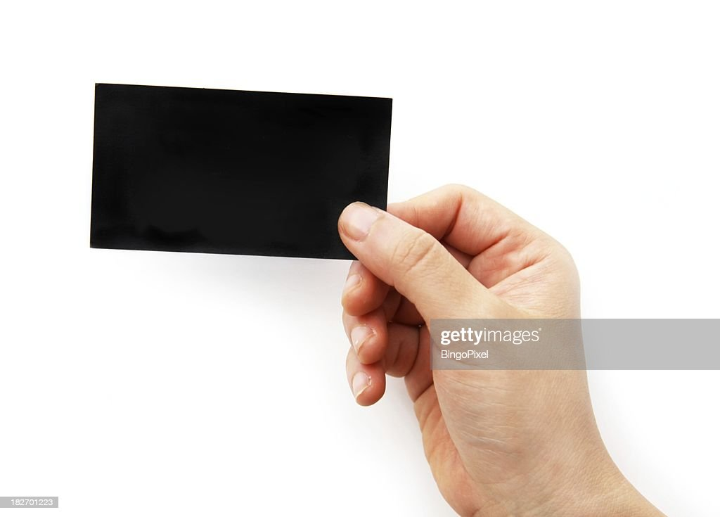 Empty Black Business Card In A Hand Stock Photo | Getty Images