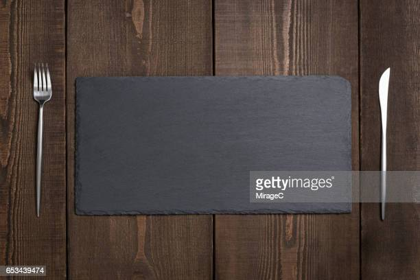 Empty Black Stone Tray Plate
