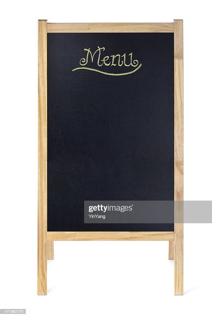 Empty Blank Menu Blackboard Easel Sign on White Background : Stock Photo