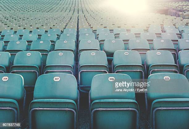 Empty Blue Chairs At Theater