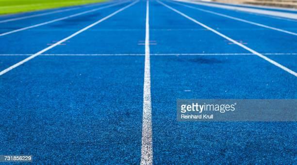 Empty Blue Running Track