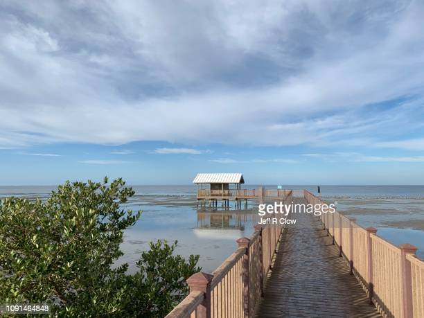 empty boardwalk on south padre - south padre island stock pictures, royalty-free photos & images
