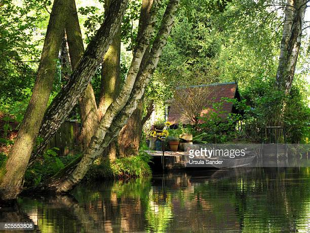 Empty boat on canal in Spree Forest, Brandenburg, Germany