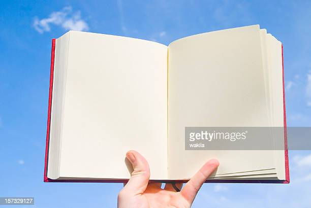 empty book before blue sky