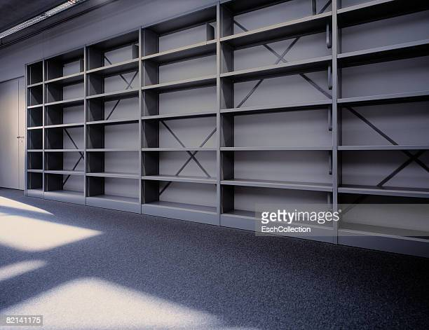 Empty bookcase in library (generic).