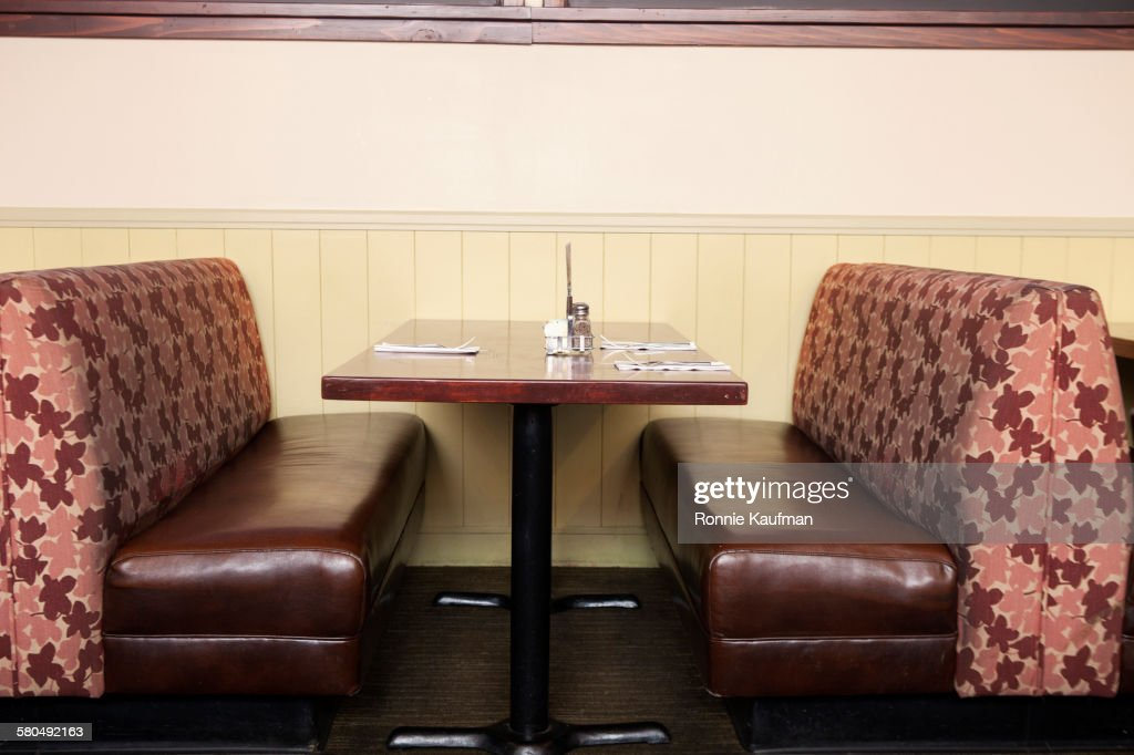 Empty booth and table in restaurant : Stock Photo