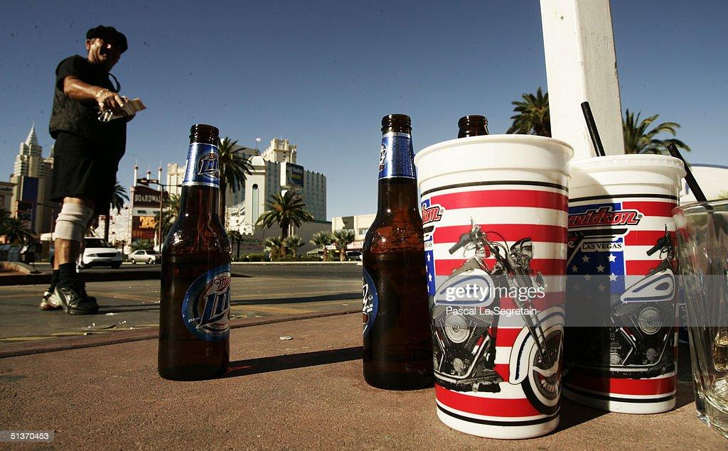 Empty bottles are seen on Las Vegas Boulevard September 18 in Las Vegas.