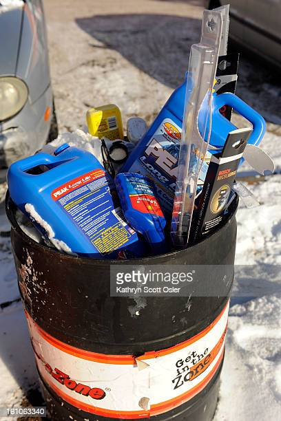 WEATHER_KSO_12_15_08008 Empty bottles of antifreeze and wiper blades fill this trash can at Auto Zone 4585 E Colfax in Denver Subzero temperatures...