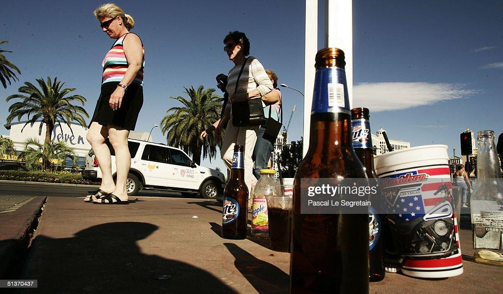 Empty bottles of beer are seen on Las Vegas Boulevard September 18 in Las Vegas.