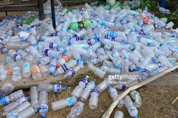 Empty bottles of water consumed by the villagers at Basantpur village More than 7500 people have died now as a result of the 78 magnitude earthquake...