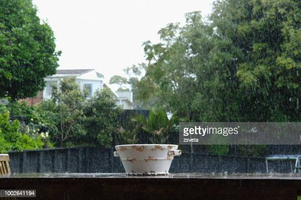 Empty bowl on the table under the rain