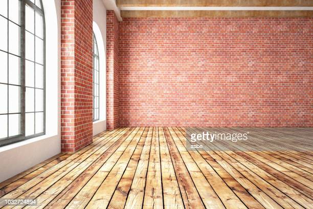 empty brick wall with wooden interior - loft apartment stock pictures, royalty-free photos & images