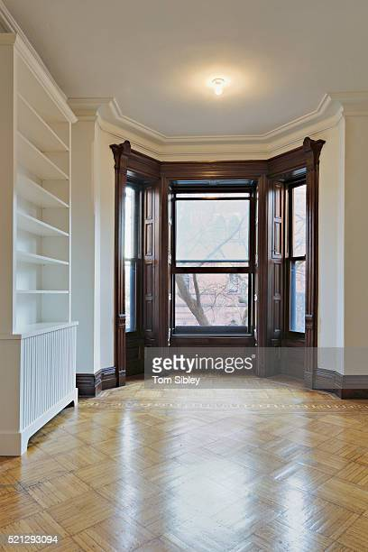Empty brownstone living room