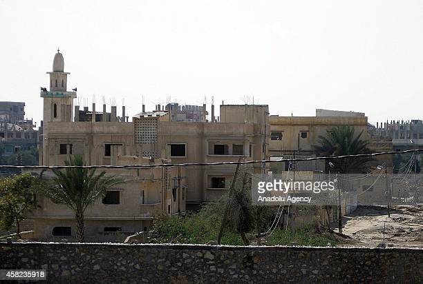 Empty buildings are seen as Egyptian army destroy them as part of an operation aiming to create a buffer zone at the Rafah border in Egypt, on...