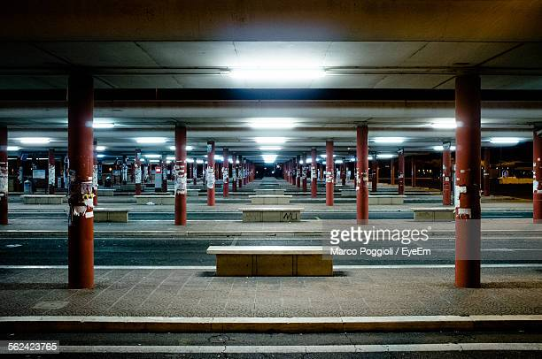 Empty Bus Station At Night
