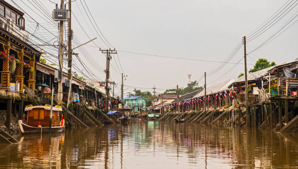 empty canal at the floating market at Amphawa
