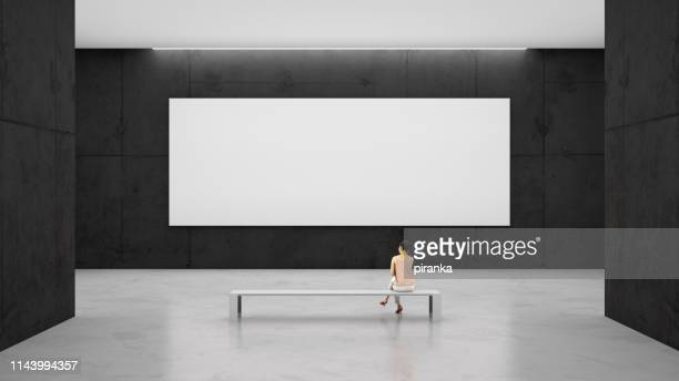 empty canvas in the gallery - museum stock pictures, royalty-free photos & images