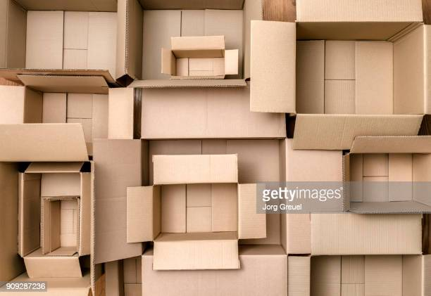 Empty cardboard boxes (top view)