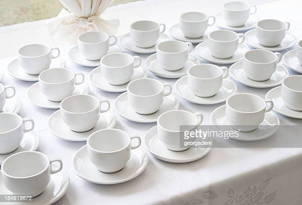 Empty Catering Cups and Saucers