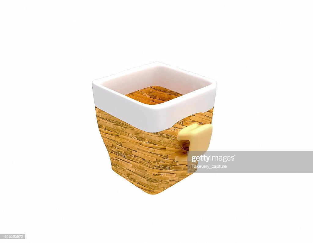 empty ceramic cup of coffee in wooden design : Stock Photo